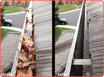 Before and After Gutter Top View